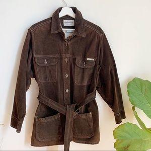 Vtg Skotts Suede Leather Jacket Belted Brown L